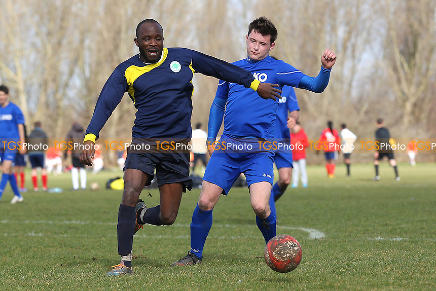 FC Bartlett (blue/black) vs Lions - Hackney & Leyton Sunday League Albert Daniels Cup Footbal at South Marsh, Hackney Marshes, London - 01/03/15 - MANDATORY CREDIT: Gavin Ellis/TGSPHOTO - Self billing applies where appropriate - 0845 094 6026 - contact@tgsphoto.co.uk - NO UNPAID USE