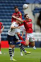 11th July 2020; Deepdale Stadium, Preston, Lancashire, England; English Championship Football, Preston North End versus Nottingham Forest; Ryan Yates of Nottingham Forest is sent flying by a challenge in the back from Jayden Stockley of Preston North End