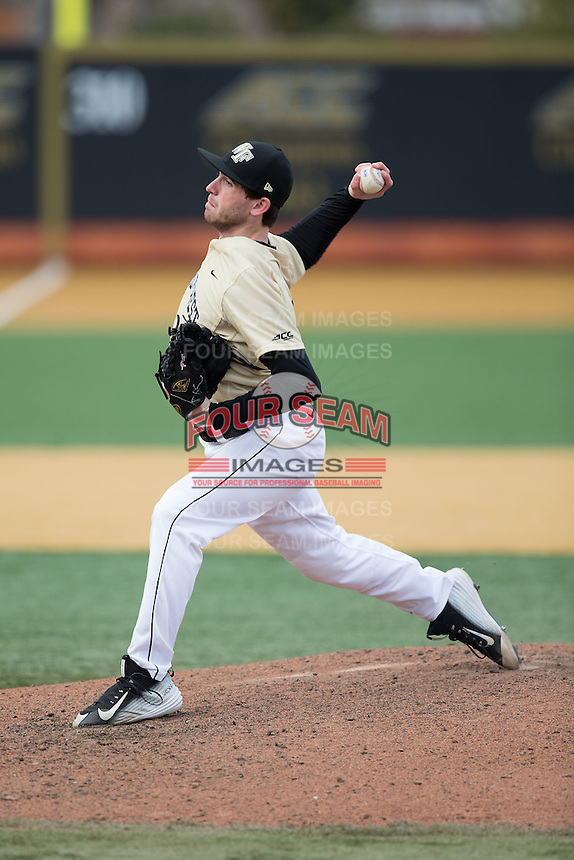 Wake Forest Demon Deacons starting pitcher Connor Johnstone (3) in action against the Harvard Crimson at David F. Couch Ballpark on March 5, 2016 in Winston-Salem, North Carolina.  The Crimson defeated the Demon Deacons 6-3.  (Brian Westerholt/Four Seam Images)