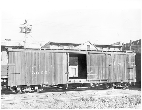 Side view of box car #3000 at Durango.<br /> D&amp;RGW  Durango, CO  Taken by Payne, Andy M. - 8/30/1959