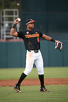 Adalberto Carrillo #8 of the Southern California Trojans throws during a game against the Coppin State Eagles at Dedeaux Field on February 18, 2017 in Los Angeles, California. Southern California defeated Coppin State, 22-2. (Larry Goren/Four Seam Images)
