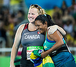 RIO DE JANEIRO - 17/9/2016:  Jen Brown congratulates Brazil's Shirlene Coelho on her silver medal in the women's F38 discus final at the Olympic Stadium during the Rio 2016 Paralympic Games. (Photo by Dave Holland/Canadian Paralympic Committee).