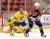 Magnus Akerlund (HV 71 - Carolina Hurricanes), Tobias Viklund (MODO Hockey), Brandon Dubinsky (Portland Winter Hawks - New York Rangers)  The US Blue team lost to Sweden 3-2 in a shootout as part of the 2005 Summer Hockey Challenge at the National Junior (U-20) Evaluation Camp in the 1980 rink at Lake Placid, NY on Saturday, August 13, 2005.