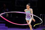 Chisaki Oiwa (JPN), <br /> AUGUST 27, 2018 - Gymnastics - Rhythmic : <br /> Individual All-Around Qualification Ribbon <br /> at JIEX Kemayoran Hall D <br /> during the 2018 Jakarta Palembang Asian Games <br /> in Jakarta, Indonesia. <br /> (Photo by Naoki Morita/AFLO SPORT)