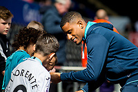 Sunday April 02 2017 <br /> Pictured: Luciano Narsingh Swansea City  arrives at the Liberty Stadium <br /> Re: Premier League match between Swansea City and Middlesbrough at The Liberty Stadium, Swansea, Wales, UK. SUnday 02 April 2017