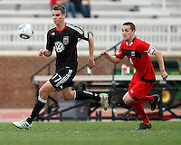 Conor Shanosky (17) of D.C. United races away from Casey Townsend (11)  during a scrimmage against the University of Maryland at Ludwig Field, University of Maryland, College Park, on April  10 2011. D.C. United won 1-0.