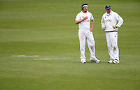 PICTURE BY VAUGHN RIDLEY/SWPIX.COM - Cricket - County Championship - Yorkshire v Derbyshire, Day 2 - Headingley, Leeds, England - 30/04/13 - Yorkshire's Jack Brooks and Andrew Gale talk tactics.