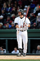 First baseman Kyle Martin (33) of the South Carolina Gamecocks bats in the Reedy River Rivalry game against the Clemson Tigers on Saturday, February 28, 2015, at Fluor Field at the West End in Greenville, South Carolina. South Carolina won, 4-1. (Tom Priddy/Four Seam Images)