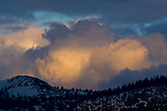 Spring snow storm clouds at sunset over mountains, Yosemite National Park, California