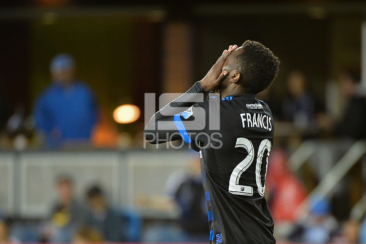 San Jose, CA - Saturday, March 11, 2017: Shaun Francis during a Major League Soccer (MLS) match between the San Jose Earthquakes and the Vancouver Whitecaps FC at Avaya Stadium.