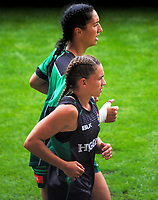 Manawatu Women's Sarah Goss (top) and Selica Winiata. Day one of the 2018 Bayleys National Sevens at Rotorua International Stadium in Rotorua, New Zealand on Saturday, 13 January 2018. Photo: Dave Lintott / lintottphoto.co.nz