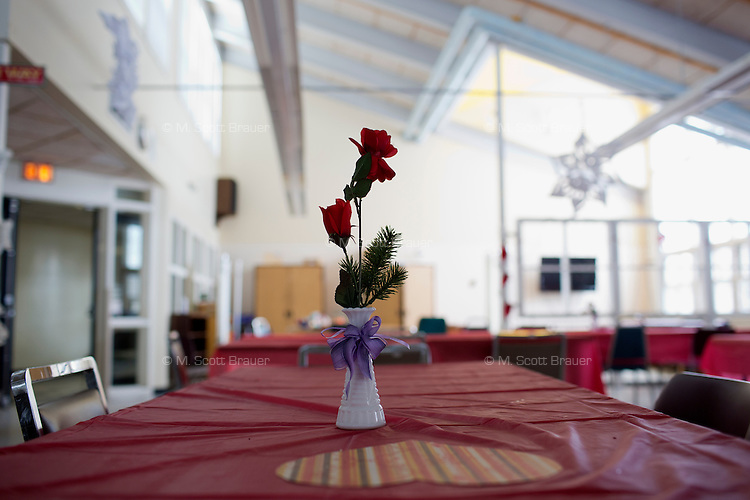 Residents at the Fernald Developmental Center in Waltham, Massachusetts, USA, go to the Activity Center twice a week for games and crafts, and periodically for holiday and birthday celebrations.