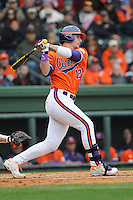 First baseman Jon McGibbon (12) of the Clemson Tigers in a game against the South Carolina Gamecocks on Saturday, March 2, 2013, at Fluor Field at the West End in Greenville, South Carolina. Clemson won the Reedy River Rivalry game 6-3. (Tom Priddy/Four Seam Images)