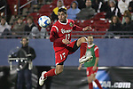 12 December 2008: Nelson Becerra (17) of St. John's.  The University of Maryland Terrapins defeated the St. John's University Red Storm 1-0 during the second sudden death overtime at Pizza Hut Park in Frisco, TX in an NCAA Division I Men's College Cup semifinal game.
