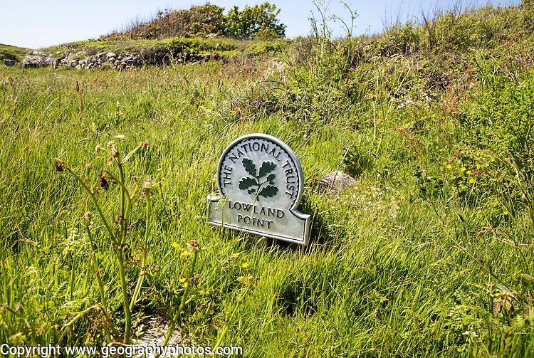National Trust sign, Lowland Point, Lizard Peninsula, Cornwall, England, UK
