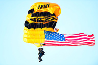 PHILADELPHIA, PA - DEC 8, 2018: Army Golden Knights parachute into the stadium before game between Army and Navy at Lincoln Financial Field in Philadelphia, PA. BLANK defeated BLANK to win the Commander in Chief Cup. (Photo by Phil Peters/Media Images International)