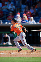 Baltimore Orioles left fielder Mike Yastrzemski (75) follows through on a swing during a Grapefruit League Spring Training game against the Philadelphia Phillies on February 28, 2019 at Spectrum Field in Clearwater, Florida.  Orioles tied the Phillies 5-5.  (Mike Janes/Four Seam Images)