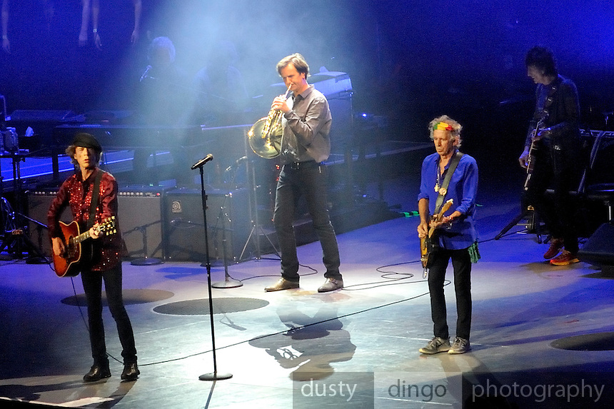 "Mick Jagger, Keith Richards and Ronnie Wood, on stage with choir and French Horn player, singing ""You Can't Always Get What You Want"". 14 on Fire tour, Perth, Western Australia"