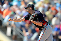 Atlanta Braves pitcher Cory Gearrin #53 during a Spring Training game against the Detroit Tigers at Joker Marchant Stadium on February 27, 2013 in Lakeland, Florida.  Atlanta defeated Detroit 5-3.  (Mike Janes/Four Seam Images)