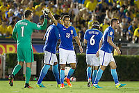 actionn photo during the match Brazil vs Ecuador, Corresponding Group -B- America Cup Centenary 2016, at Rose Bowl Stadium<br /> <br /> Foto de accion durante el partido Brasil vs Ecuador, Correspondiante al Grupo -B-  de la Copa America Centenario USA 2016 en el Estadio Rose Bowl, en la foto:  Allison Becker y Marquinhos de Brasil<br /> <br /> <br /> 04/06/2016/MEXSPORT/Victor Posadas.