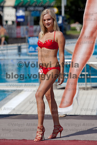 Henriett Olle participates the Miss Bikini Hungary beauty contest held in Budapest, Hungary on August 29, 2010. ATTILA VOLGYI