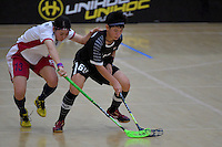 Thailand&rsquo;s Thanaporn Tongkham and Japan&rsquo;s Rei Goto in action during the World Floorball Championships 2017 Qualification for Asia Oceania Region - Japan v Thailand at ASB Sports Centre , Wellington, New Zealand on Saturday 4 February 2017.<br /> Photo by Masanori Udagawa<br /> www.photowellington.photoshelter.com.
