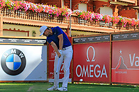 Lucas Bjerregaard (DEN) tees off the 17th tee during Sunday's Final Round 4 of the 2018 Omega European Masters, held at the Golf Club Crans-Sur-Sierre, Crans Montana, Switzerland. 9th September 2018.<br /> Picture: Eoin Clarke | Golffile<br /> <br /> <br /> All photos usage must carry mandatory copyright credit (&copy; Golffile | Eoin Clarke)