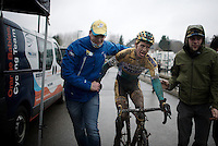 congratulations for Tom Meeusen (BEL/Telenet-Fidea) just after having finished the race<br /> <br /> Druivencross Overijse 2014