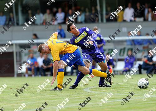 2013-09-01 / Voetbal / seizoen 2013-2014 / Beerschot Wilrijk - Ternesse / Christof Van Bouwel (l. Ternesse) met Pieter Fasseur<br /><br />Foto: Mpics.be