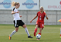 20180302 - LARNACA , CYPRUS : Austrian Sarah Puntigam (left) pictured with Czech Katerina Svitkova (r) during a women's soccer game between Austria and Czech Republic , on friday 2 March 2018 at the AEK Arena in Larnaca , Cyprus . This is the second game in group B for Austria and Czech Republic during the Cyprus Womens Cup , a prestigious women soccer tournament as a preparation on the World Cup 2019 qualification duels. PHOTO SPORTPIX.BE | DAVID CATRY
