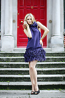 15/7/2010. COAST AUTUMN WINTER 2010 PREVIEW.  Sarah wears an Shelby Feather Dress EUR285 at the preview of the Coast Autumn Winter 2010 collection at 15 St Stephens Green Dublin. Picture James Horan/Collins Photos