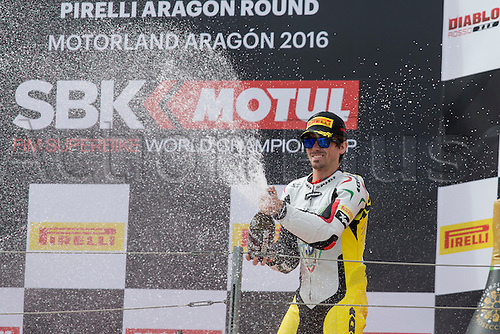 03.04.2016. Motorland, Aragon, Spain, World Championship Motul FIM of Superbikes. Nico Terol #88, MV Augusta 3 675 rider of Supersport  celebrates after the Race  in the World Championship Motul FIM of Superbikes from the Circuito de Motorland.