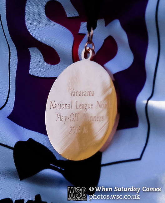 The play off winners medal. Vanarama National League North, Promotion Final, North Ferriby United v AFC Fylde, 14th May 2016.