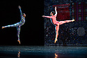 London, UK. 19.05.2014. Rambert presents Lucinda Childs' FOUR ELEMENTS, as part of their London Spring Season 2014, at Sadler's Wells. Picture shows: Mbulelo Ndabeni and Dane Hurst. Photograph © Jane Hobson.