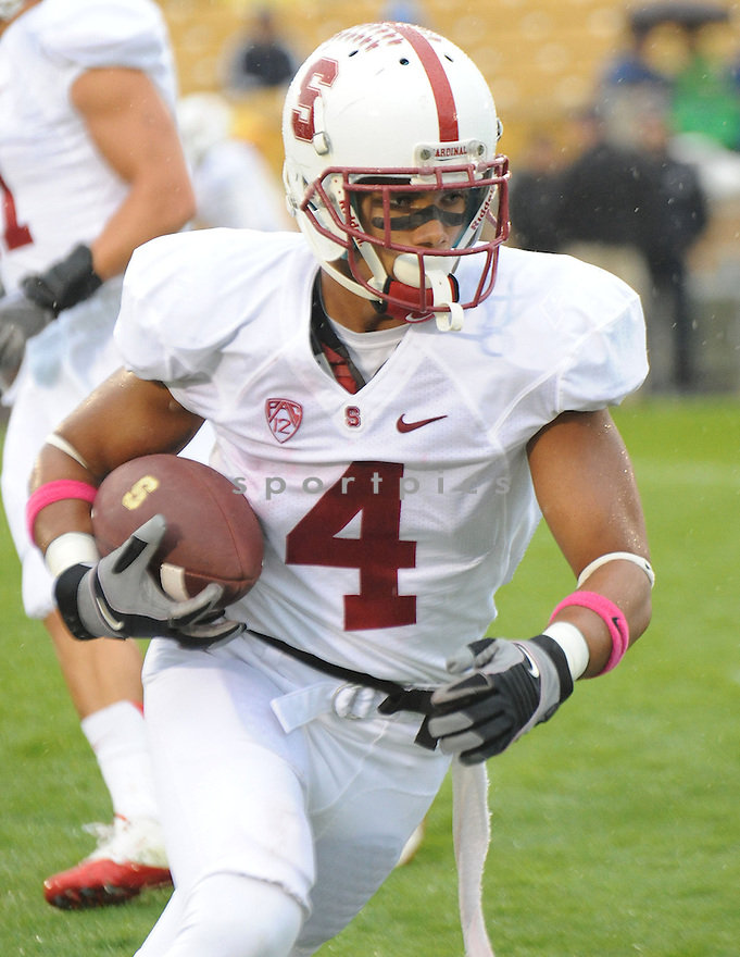 Stanford Cardinal Drew Terrell (4) in action during a game against Notre Dame on October 13, 2012 at Notre Dame Stadium in South Bend, IN. Notre Dame beat Stanford 20-13 in overtime.