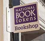 National Book Tokens bookshop sign, Halesworth, Suffolk, England