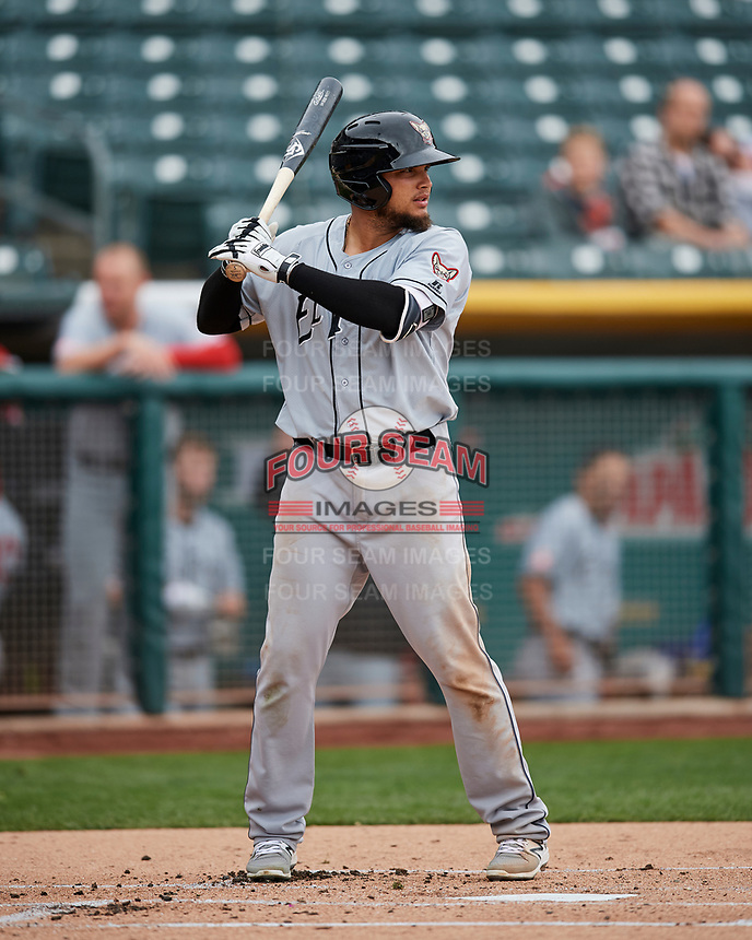 Diego Goris (8) of the El Paso Chihuahuas at bat against the Salt Lake Bees in Pacific Coast League action at Smith's Ballpark on April 30, 2017 in Salt Lake City, Utah.   El Paso defeated Salt Lake 12-3. This was Game 2 of a double-header originally scheduled on April 28, 2017.(Stephen Smith/Four Seam Images)