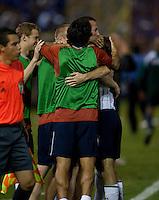 US Men's National Team bench surround Frankie Hejduk after his goal during FIFA World Cup qualifier against El Salvador. USA tied El Salvador 2-2 at Estadio Cuscatlán Stadium in El Salvador on March 28, 2009.