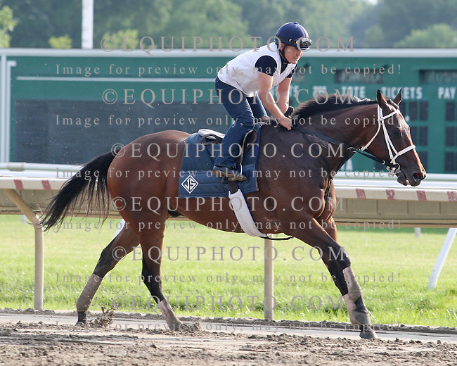 Morning Workouts at Monmouth Park in Oceanport, New Jersey.