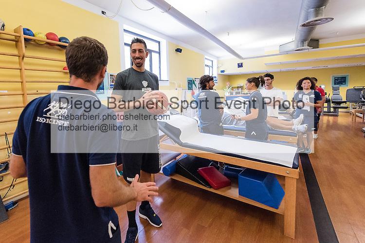 13 settembre 2016, TORINO: Valerio Mazzola e Jamil Wilson, giocatori dell'Auxilium Torino basket, sono in visita al centro Isokinetic del dott. Fabrizio Tencone, a Torino.