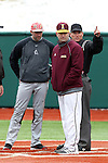 21 February 2015: Iona head coach Pat Carey (center) with Hartford head coach Justin Blood (left) and home plate umpire Greg Howard (right). The Iona College Gaels played the University of Hartford Hawks in an NCAA Division I Men's baseball game at Jack Coombs Field in Durham, North Carolina as part of the Duke Baseball Classic. Hartford won the game 12-1.