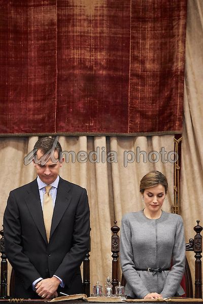 05-04-2016 Spain Queen Letizia and King Felipe during the ceremony in which the Cervantes Institute's director, professor Victor Garcia de la Concha, was made an honorary doctor along with the former principal of the Autonomous University of Mexico and current Mexican Health Secretary Jose Ramon Narro Robles at the University of Salamanca, Spain. Photo Credit: PPE/face to face/AdMedia