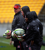 The coaches kick about during the Lions Super Rugby final captain's run at Westpac Stadium, Wellington, New Zealand on Friday, 5 August 2016. Photo: Dave Lintott / lintottphoto.co.nz