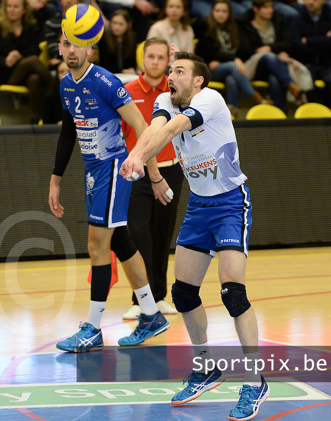 20161228 - ROESELARE ,  BELGIUM : Roeselare's Stijn Dejonckeere pictured during the second semi final in the Belgian Volley Cup between Knack Volley Roeselare and Lindemans Aalst in Roeselare , Belgium , Wednesday 28 th December 2016 . PHOTO SPORTPIX.BE | DAVID CATRY