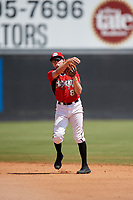 Carolina Mudcats second baseman Trever Morrison (8) throws to first base during a Carolina League game against the Winston-Salem Dash on August 14, 2019 at Five County Stadium in Zebulon, North Carolina.  Winston-Salem defeated Carolina 4-2.  (Mike Janes/Four Seam Images)