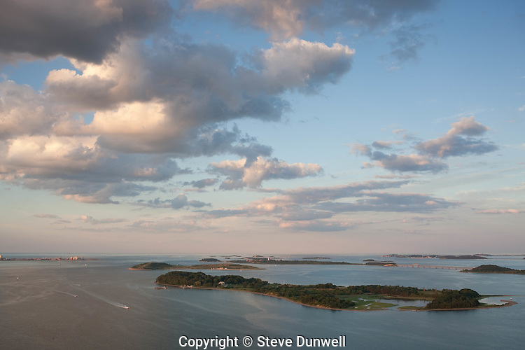 Boston harbor, aerial, Dorchester, MA sunset