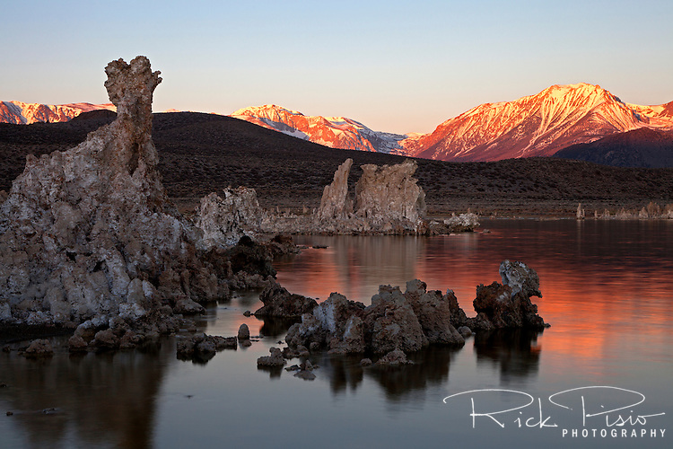 Light reflects on the water surrounding the Tufa Towers along Mono Lake's south shore at sunrise. The tufa towers were formed when the area was covered with water. Underwater springs rich in calcium chemically reacted with the carbonates in the lake and over a period of decades created these calcium carbonate, or limestone, towers. Some towers reach heights of over 30 feet. The towers were exposed when water was diverted from Mono Lake to Southern California, drastically lowering the water level.