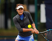 June 12th 2017,  Nottingham, England; WTA Aegon Nottingham Open Tennis Tournament day 1; Elizaveta Kulichikova is a picture of concentration as she prepares to hit a backhand
