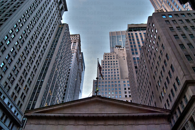 Low angle image of buildings on Wall Street, Manhattan, New York City.