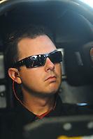 Feb. 17 2012; Chandler, AZ, USA; NHRA top fuel driver Steve Torrence warms up his dragster at the Arizona Nationals at Firebird International Raceway. Mandatory Credit: Mark J. Rebilas-